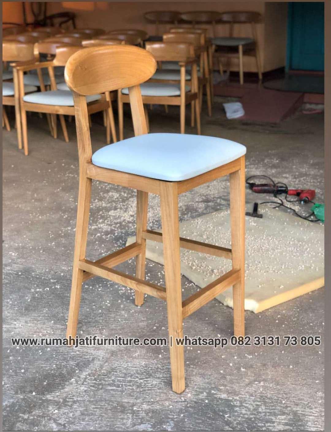 Gambar Kursi Bar Natural Kayu Sungkai |RUMAH JATI FURNITURE