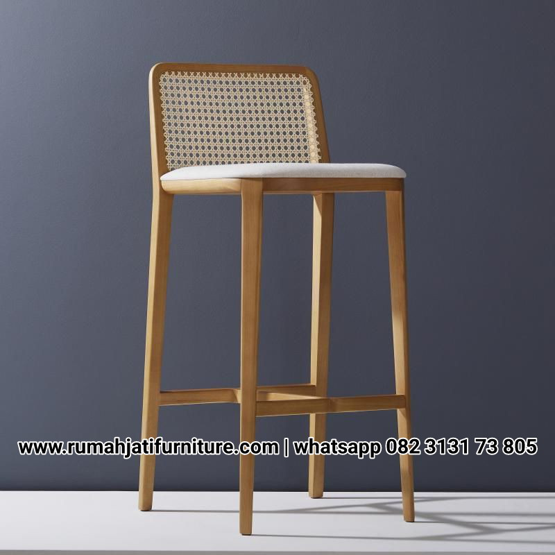 Gambar Barstool Natural Rotan Teak wood | RUMAH JATI FURNITURE