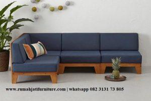 Sofa Sudut Ruang Tamu Minimalis Kayu Jati