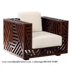 Sofa Single Unik Model Silang Bahan Kayu Jati