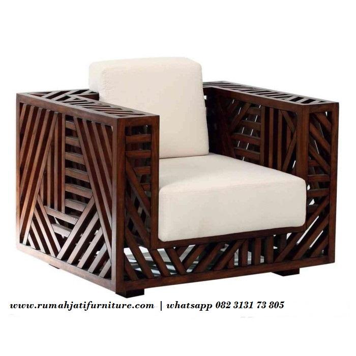 Gambar Sofa Single Unik Model Silang Bahan Kayu Jati | Rumah Jati Furniture