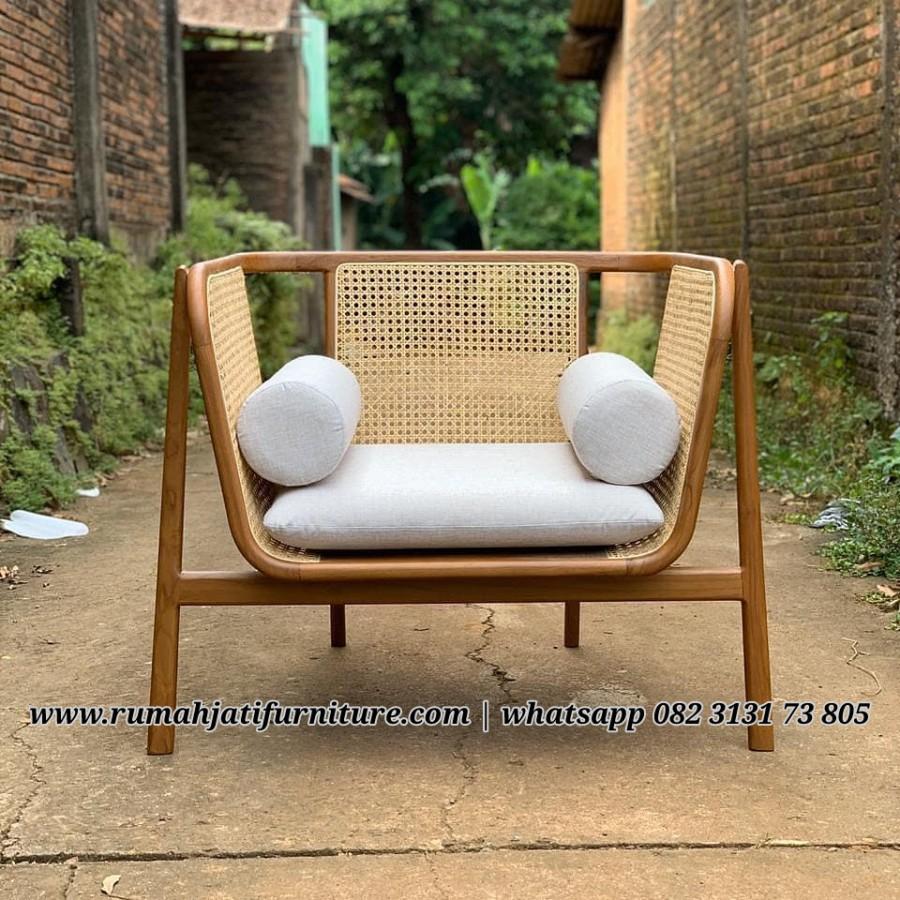 Gambar Sofa Amchair Kayu Jati Kombinasi Rotan | RUMAH JATI FURNITURE