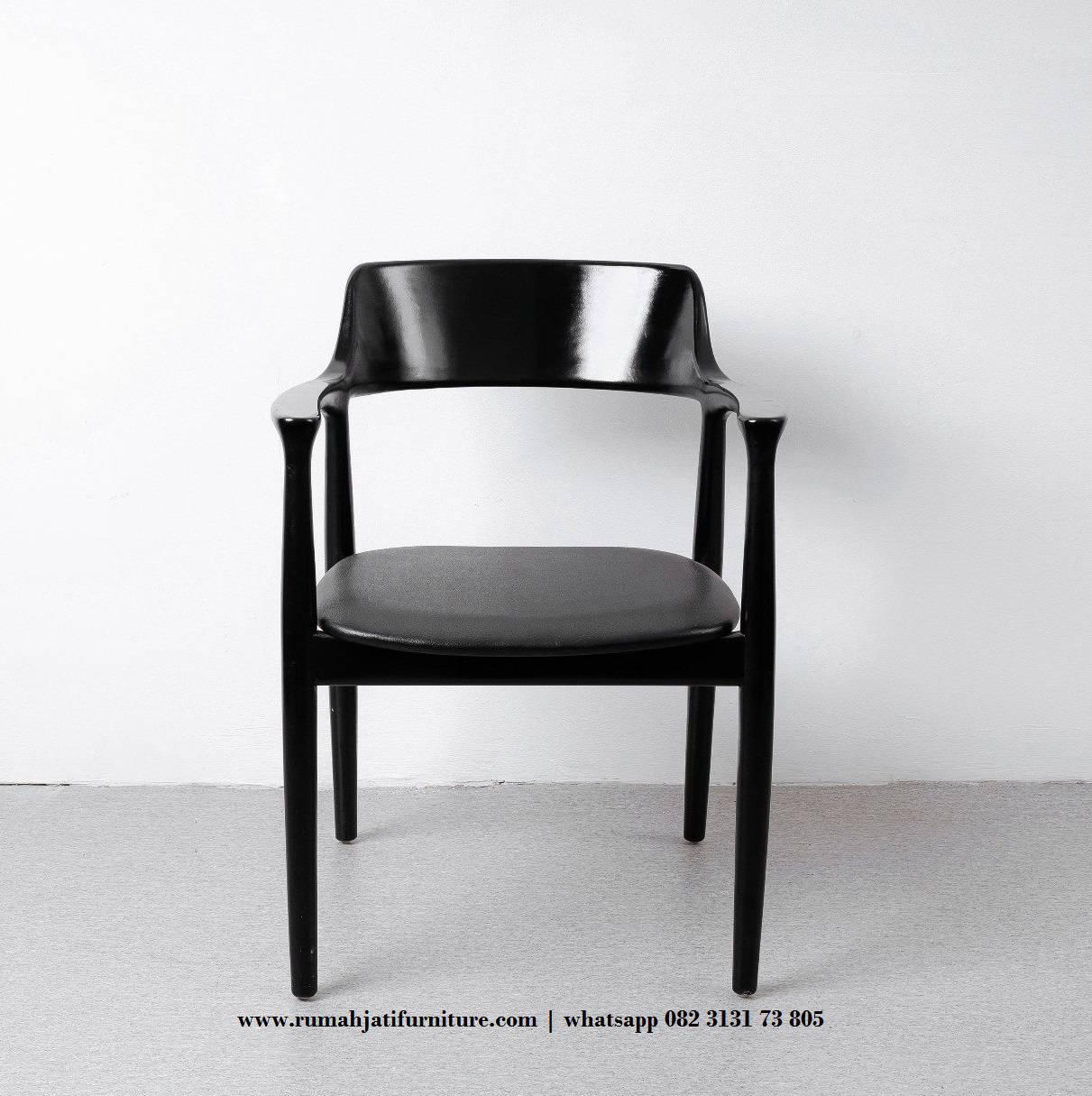 Gambar Kursi Makan Cafe Ala Jepang Kayu Jati Hitam | Rumah Jati Furniture
