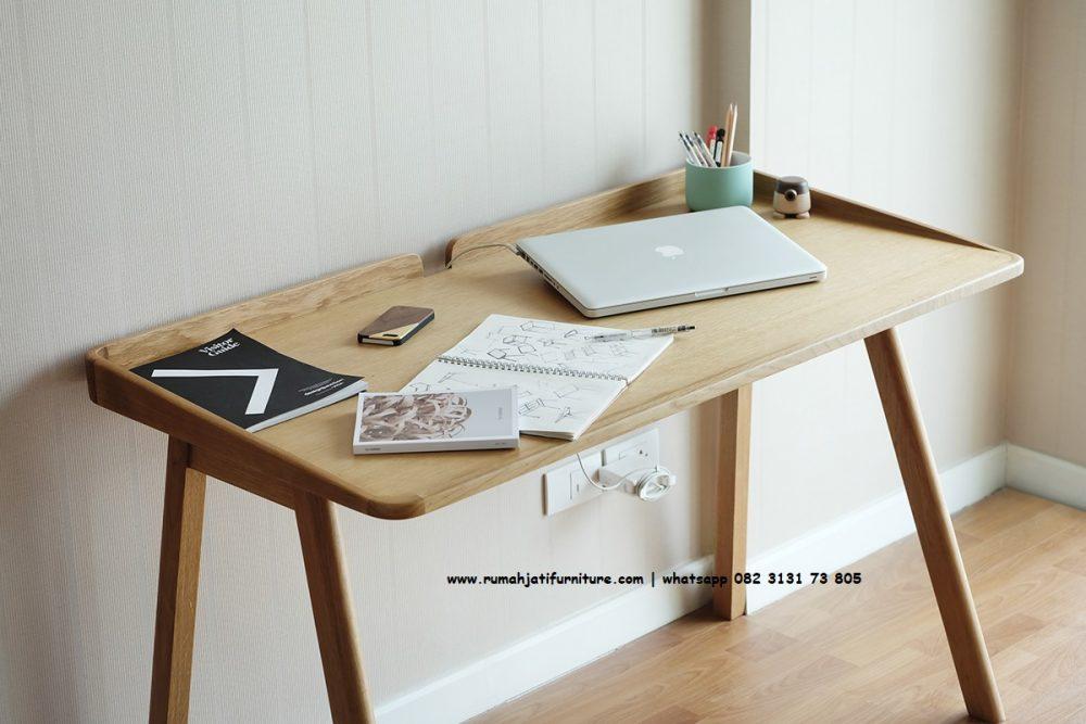 Gambar Meja Belajar Retro Scandinavian Roob Kayu Jati | Rumah Jati Furniture