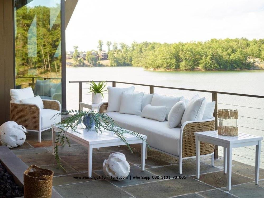 Gambar Set Sofa Rotan Lengkung Black Wood | Rumah Jati Furniture