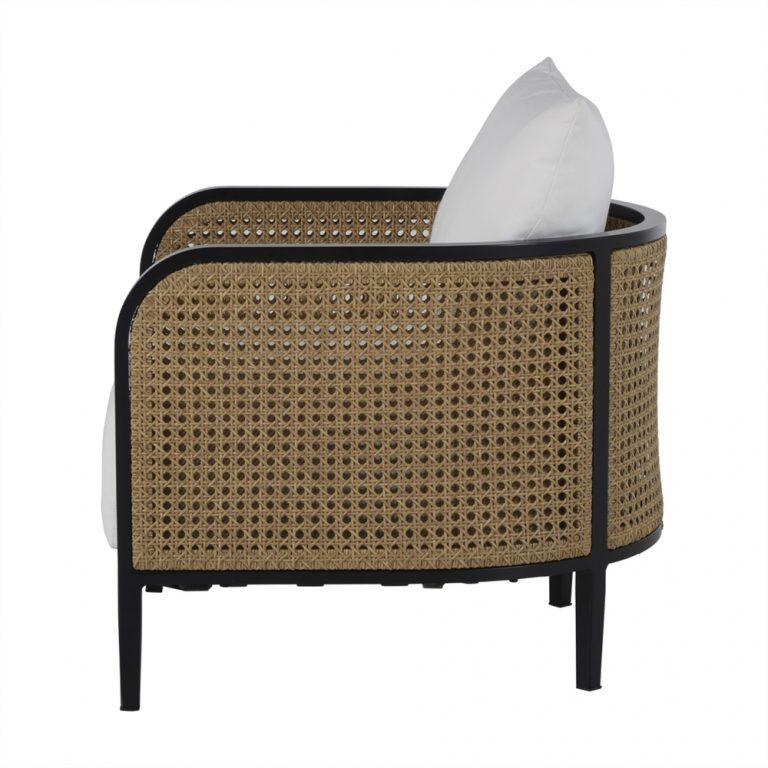 Gambar Sofa Single Kayu Jati Kombinasi Rotan Lengkung | Rumah Jati Furniture