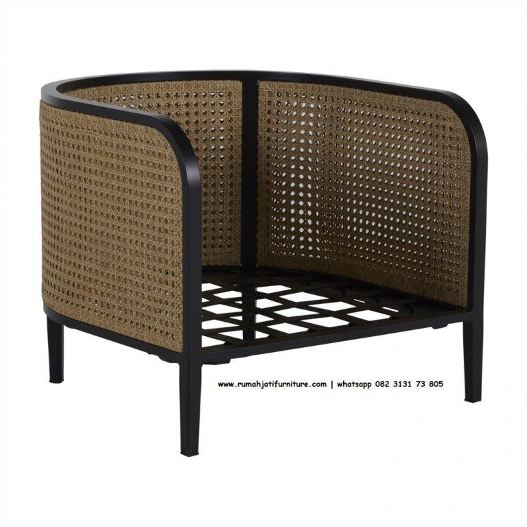 Gambar Sofa Single Rotan Lengkung Black Wood | Rumah Jati Furniture